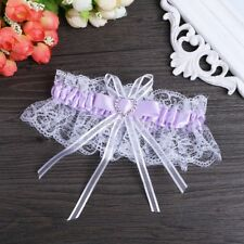 Crystal Multicolor Lace Heart Satin Bridal Garter Wedding Accessory Bowknot