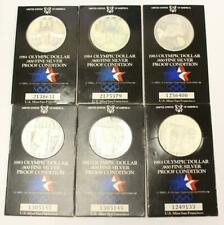 6x USA Proof Olympic Silver Dollars 4x1983 & 2x1984 .900 fine silver 6-coins