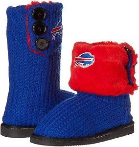 NFL Buffalo Bill Knit Team Color High End Button Women Boot Slipper - S Size
