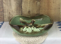 Vintage McCoy Pottery Green and Brown with Bird Planter