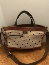 FOSSIL Duffel Bag Canvas Brown & Tan Large Weekender Satchel Bag Tote
