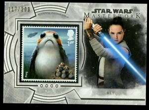 Rey S-KJ Topps 2018 Star Wars Masterworks Postage Stamp Trading Card 117 of 200