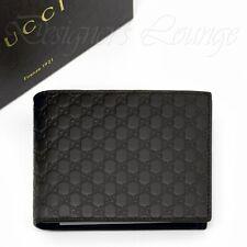 NIB GUCCI MicroGuccissima GG Men's Bifold ID Wallet Dark Brown Leather Authentic