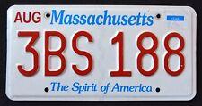 "MASSACHUSETTS "" THE SPIRIT OF AMERICA - 3BS 188 "" MA License Plate"