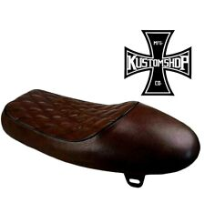 Cafe racer/scrambler seat, tan with black piping. Universal/custom fit.