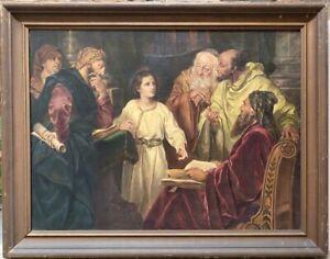HEINRICH HOFMANN Jesus in the Temple 19th Century Signed Copy German Religious