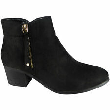 Womens Ladies Faux Suede Zip Low Mid Cuban Heel Work Ankle BOOTS Shoes Size Black UK 8 / EU 41 / US 10