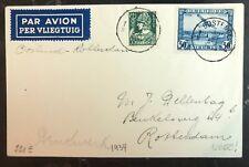 1934 Ostend Belgium First Flight Airmail Ffc cover To Rotterdam Holland