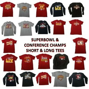 NFL Kansas City Chiefs Super Bowl LIV and Conference Champion Men Tee Shirts New