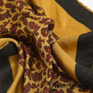 Vintage Hand Rolled Foulard Twill Antique Brass Twin Paisley Pocket Square NR