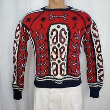 Pringle Medium Sweater Men's Crew Neck Pullover Wool Red White Blue Hand Knit