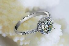 1.64 CT Off White Round Moissanite Engagement Ring Sterling Silver Ring
