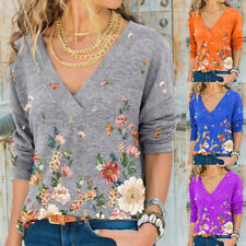 Women Casual Floral Print Deep V Neck T Shirt Blouse Long Sleeve Loose Tee Tops