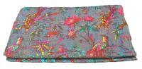 indischen Grau Kantha Quilt, Werfen  Decke Queen, handgefertigt kantha Tagesdeck