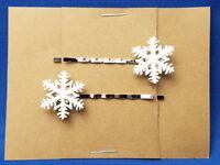 SNOWFLAKE Winter - Handmade Bobby PIn Hair clips - Set of 2