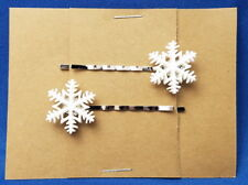 SNOWFLAKE Winter - Handmade Bobby PIn Hair clips - Set of 2
