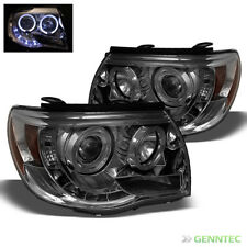 For Smoked 05-11 Toyota Tacoma Halo LED Projector Headlights Smoke Head Lights