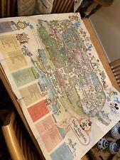 More details for vintage 1979 rare map of walt disney world magic kingdom souvenir
