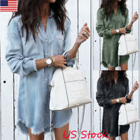 USA Women Casual V Neck Blouse Tassel Denim Top Ladies Tunic T Shirt Mini Dress
