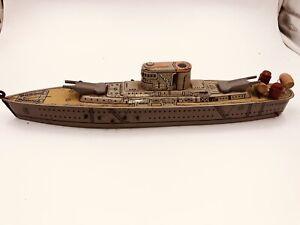 1950s MARX TIN LITHO TOY U.S.S. WASHINGTON SHIP Friction Working Excellent