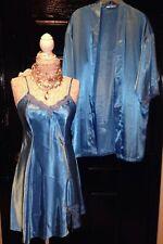 NEW~DELICATES~BLUE Shiny Satin KIMONO ROBE & CHEMISE PENIOR SET~Womans SMALL S