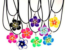 6x PLUMERIA FLOWER NECKLACES w/ Crystal - Colorful Hawaiian Fimo Pendants - BULK