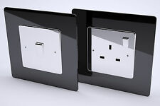 Single Black Acrylic Switch/Socket Surround, Perspex, Finger Plate, 3 for 2