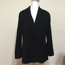 Les Copains Black Peek Lapels Blazer Jacket Sz IT44 111 8 M Career Hidden Button