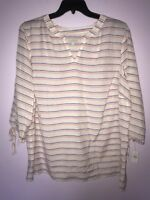 TALBOT's Green Blue White Plus Size Pullover Blouse Cotton Blend Top 3X NWT