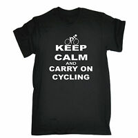KEEP CALM AND CARRY ON CYCLING T-SHIRT bike rider funny birthday gift present