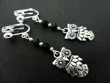 A PAIR OF DANGLY TIBETAN SILVER & BLACK CRYSTAL OWL  CLIP ON  EARRINGS. NEW.