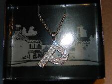 "PLAYBOY BUNNY TM clear crystal slanted ""P"" pendant adjutable Necklace NEW"