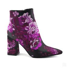 Womens Trendy Pointy Toe Floral Embroidered Zipper Ankle Boots Smart Work Pumps