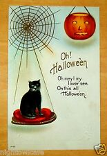 BLACK CAT spider web JACK O LANTERN Nash OH! HALLOWEEN H-18 Vintage Postcard