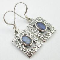 """925 Sterling Silver BLUE FIRE LABRADORITE Gem Lady ANTIQUE STYLE Earrings 1.3"""""""