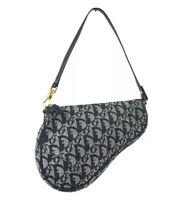 Christian Dior Vtg Logo Trotter Saddle Navy Blue Leather Purse Handbag MC0031