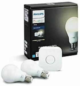 Philips Hue A19 LED Dimmable Smart Wireless Lighting Starter Kit