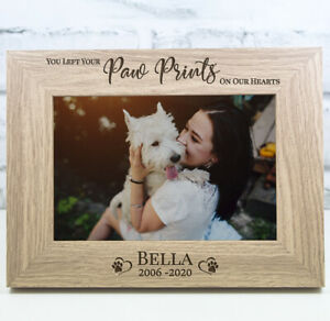 Personalised Dog Photo Frame Wooden Frame Paw Prints Memorial Photo Frame Pet