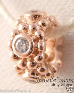 HER MAJESTY Authentic PANDORA Rose GOLD Plated CZ STONES Spacer Charm/Bead NEW