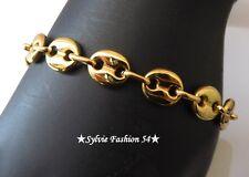 Bracelet bijou homme ado mixte gros grain de café acier inoxydable doré or 1 cm
