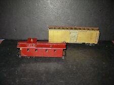 2 HO Vintage brass cars: Box car w/wood Frame, Mantua-tin/brass long Caboose C-2