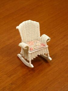 Peggy Taylor White Wicker Rocking Chair (1/2 Scale) Artisan Dollhouse Miniature