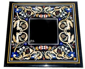 Marble Coffee Table Top Hand Inlaid Work at Border Patio Side Table Heritage Art