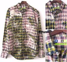 AUTH MSGM MEN'S CHECK LINEN COTTON SLIM FIT DRESS SHIRT ITALY Sz-41/16 $330