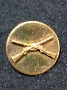 WW2 US Army Infantry Brass Collar Disc Military Uniform Insignia Screw Back