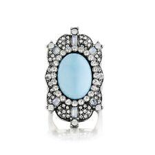 Bague Femme Turquoise Cristal Argentée Rétro Original Soirée Mariage Cadeau Z2