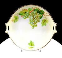 """HUTSCHENREUTHER SELB BAVARIA GREEN GRAPES AND LEAVES 10"""" HANDLED CAKE PLATE 1857"""