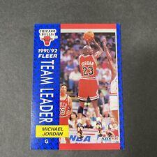1992-93 Fleer Basketball Michael Jordan Chicago Bulls Team Leader Card #375