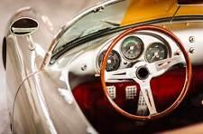 Leinwand Bild Porsche Spyder 550 1500 RS i Lenkrad Klassiker Oldtimer  Cockpit