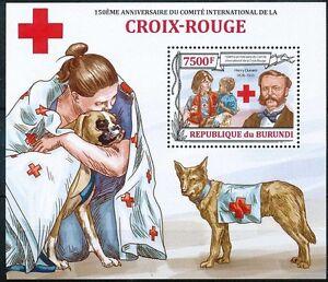 Red Cross, 150 Ann. Dunant, Dog, BURUNDI 2013 MNH MS